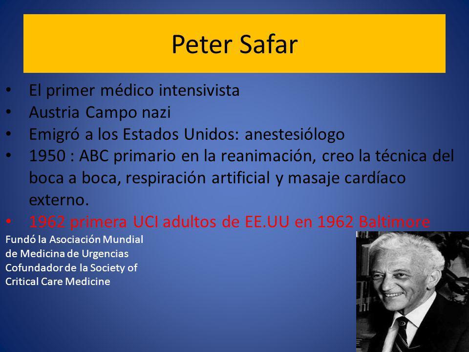 Peter Safar El primer médico intensivista Austria Campo nazi Emigró a los Estados Unidos: anestesiólogo 1950 : ABC primario en la reanimación, creo la técnica del boca a boca, respiración artificial y masaje cardíaco externo.