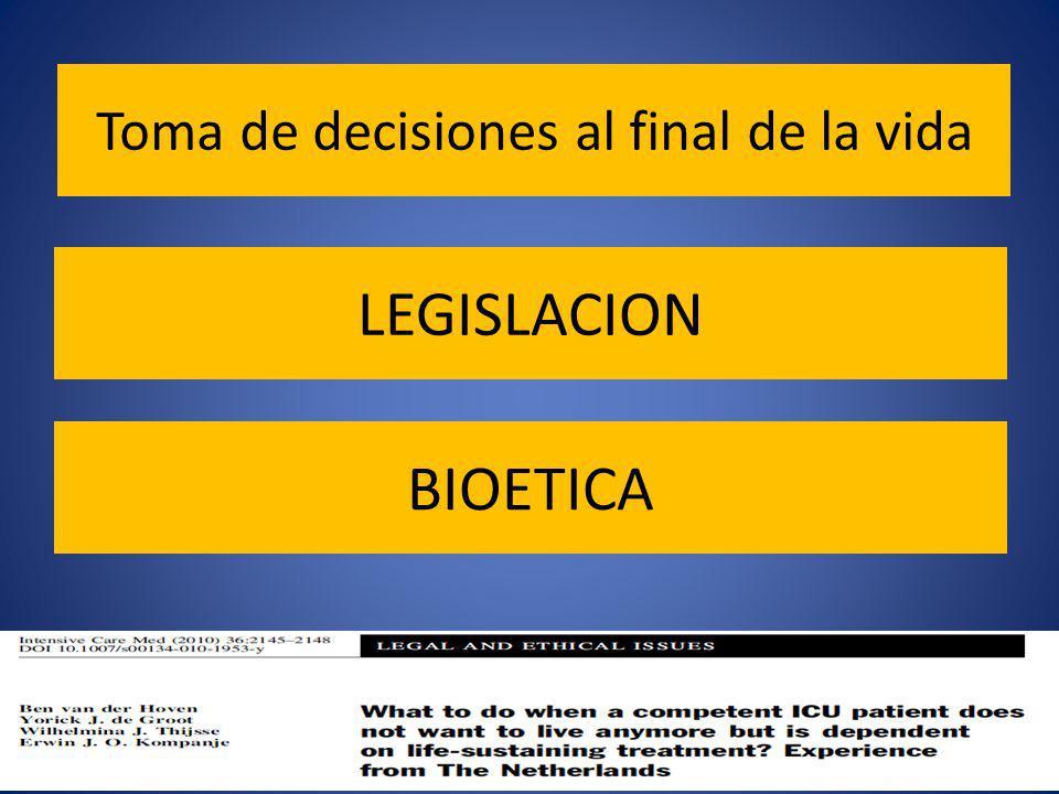 Toma de decisiones al final de la vida LEGISLACION BIOETICA