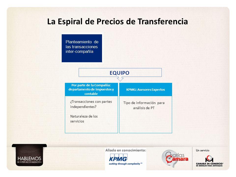 Aliado en conocimiento: La Espiral de Precios de Transferencia Planteamiento de las transacciones inter-compañía Por parte de la Compañía: departament