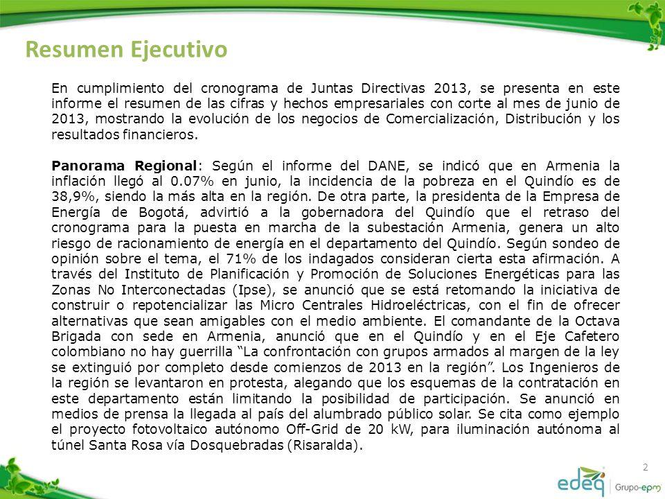 Resumen Ejecutivo 2 En cumplimiento del cronograma de Juntas Directivas 2013, se presenta en este informe el resumen de las cifras y hechos empresaria
