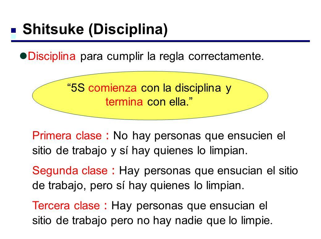Shitsuke (Disciplina) Disciplina para cumplir la regla correctamente. 5S comienza con la disciplina y termina con ella. Tercera clase Hay personas que