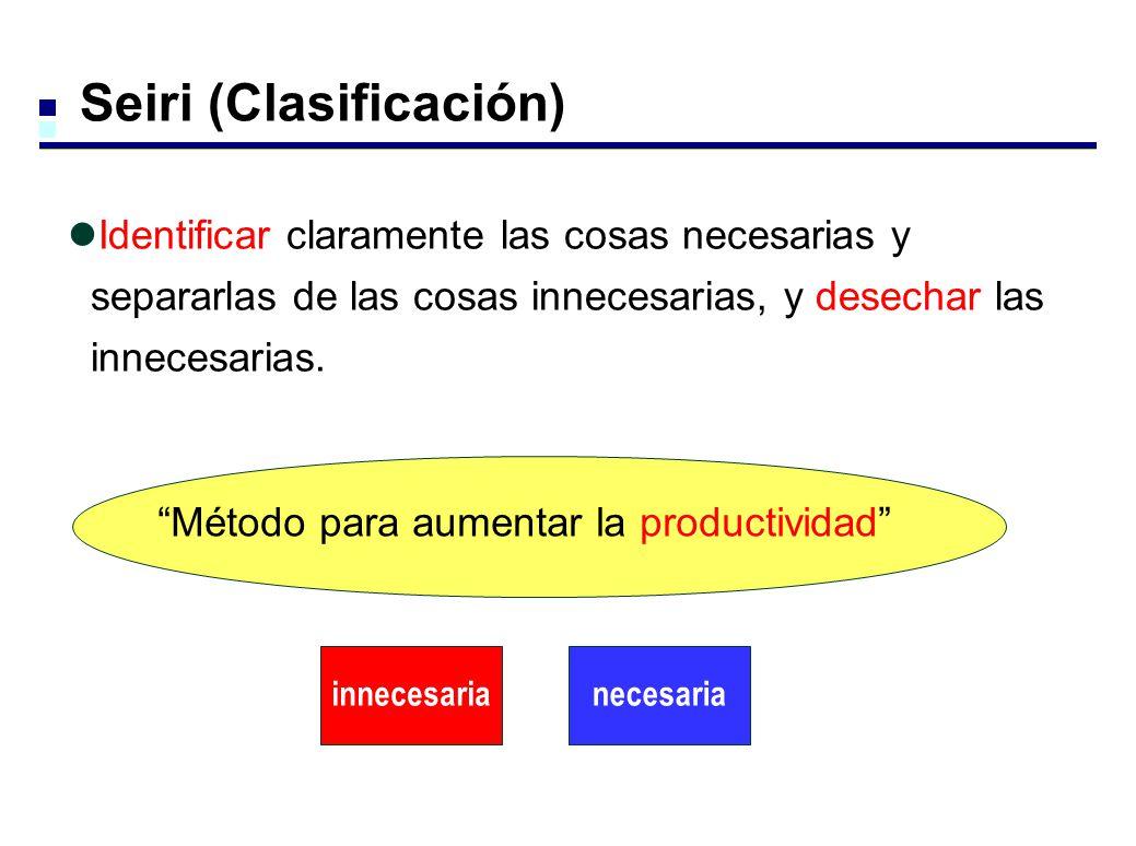 innecesarianecesaria Método para aumentar la productividad Seiri (Clasificación) Identificar claramente las cosas necesarias y separarlas de las cosas