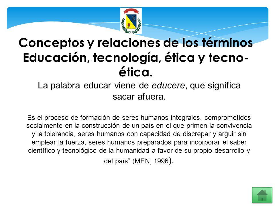 Conceptos y relaciones de los términos Educación, tecnología, ética y tecno- ética. La palabra educar viene de educere, que significa sacar afuera. Es