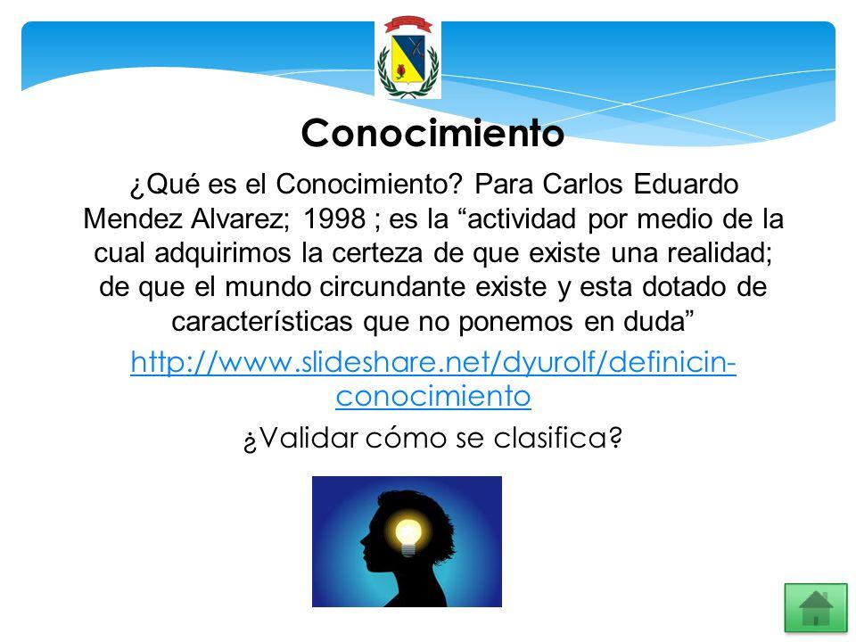 Conocimiento ¿Qué es el Conocimiento? Para Carlos Eduardo Mendez Alvarez; 1998 ; es la actividad por medio de la cual adquirimos la certeza de que exi