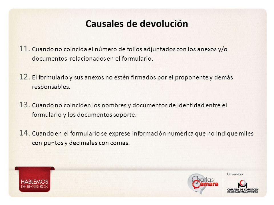 Causales de devolución 11.