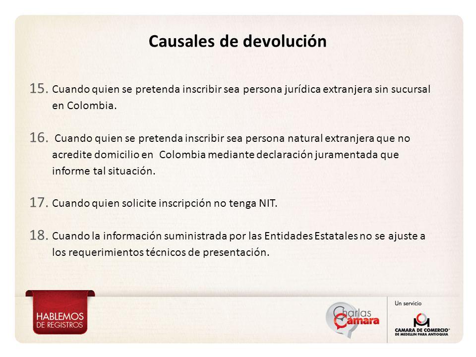 15. Cuando quien se pretenda inscribir sea persona jurídica extranjera sin sucursal en Colombia.