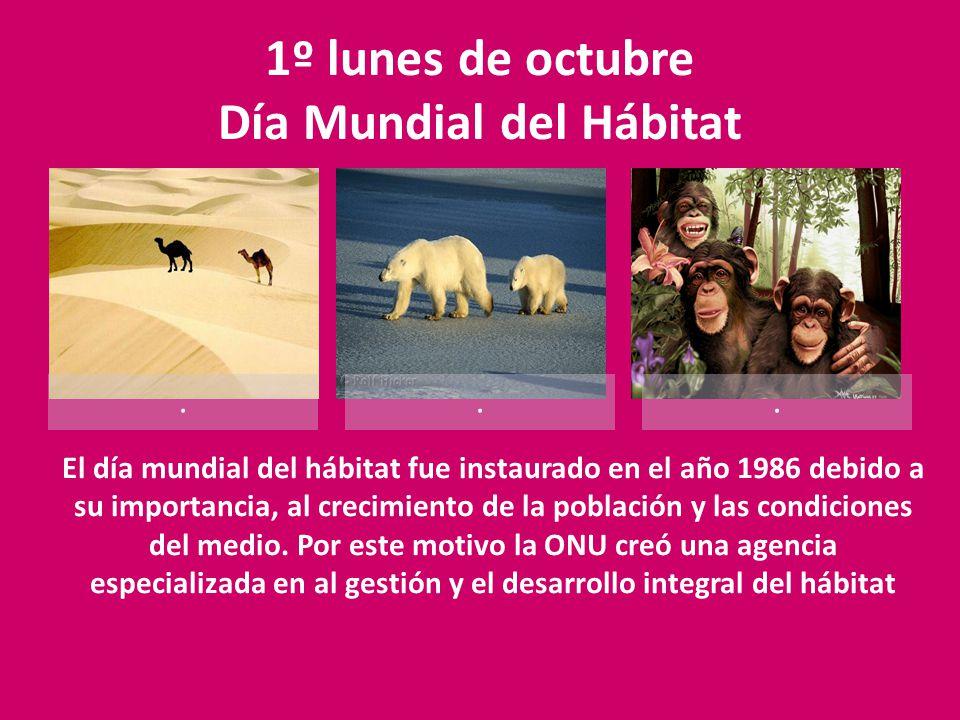 1º lunes de octubre Día Mundial del Hábitat...