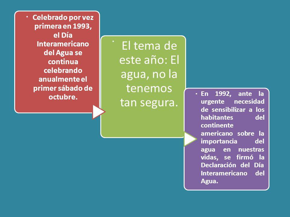 Celebrado por vez primera en 1993, el Día Interamericano del Agua se continua celebrando anualmente el primer sábado de octubre..