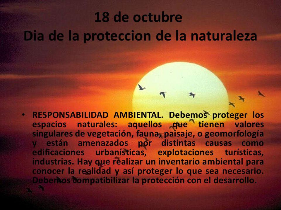 18 de octubre Dia de la proteccion de la naturaleza RESPONSABILIDAD AMBIENTAL.