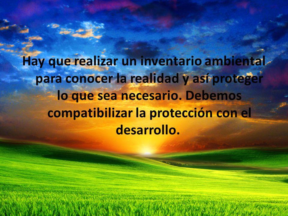Hay que realizar un inventario ambiental para conocer la realidad y así proteger lo que sea necesario.