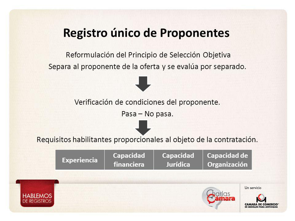 Registro único de Proponentes Reformulación del Principio de Selección Objetiva Separa al proponente de la oferta y se evalúa por separado. Verificaci