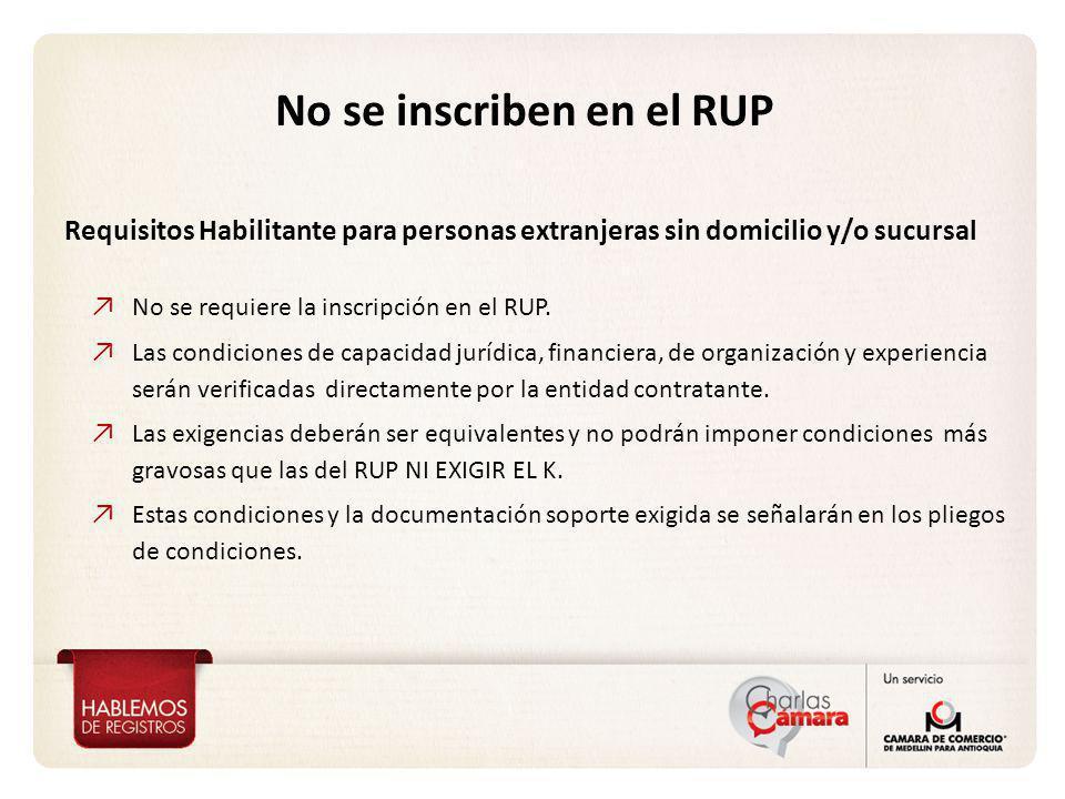No se requiere la inscripción en el RUP. Las condiciones de capacidad jurídica, financiera, de organización y experiencia serán verificadas directamen