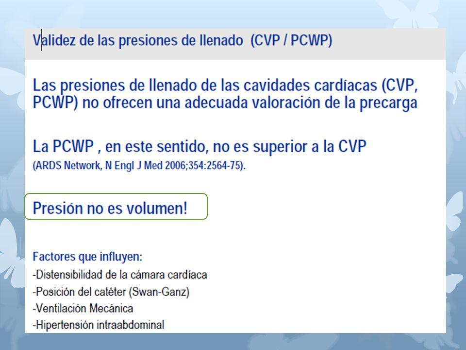 Las presiones de llenado de las cavidades cardíacas (CVP, PCWP) no ofrecen una adecuada valoración de la precarga La PCWP, en este sentido, no es superior a la CVP (ARDS Network, N Engl J Med 2006;354:2564-75).