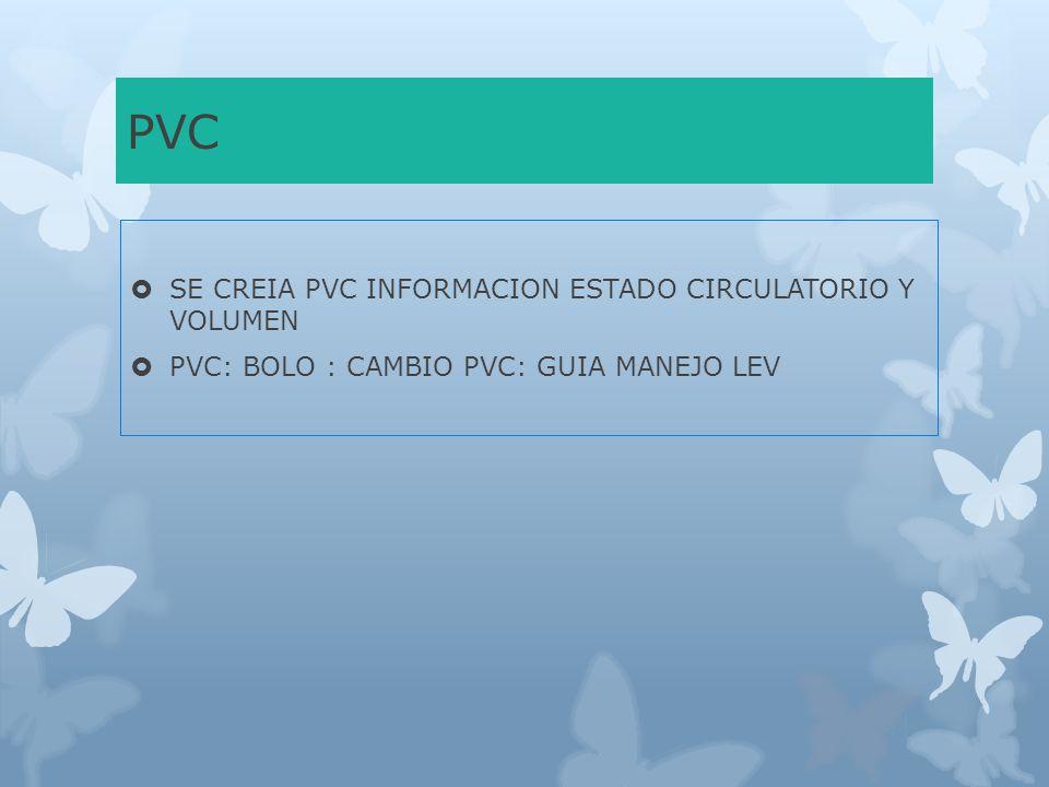PVC SE CREIA PVC INFORMACION ESTADO CIRCULATORIO Y VOLUMEN PVC: BOLO : CAMBIO PVC: GUIA MANEJO LEV