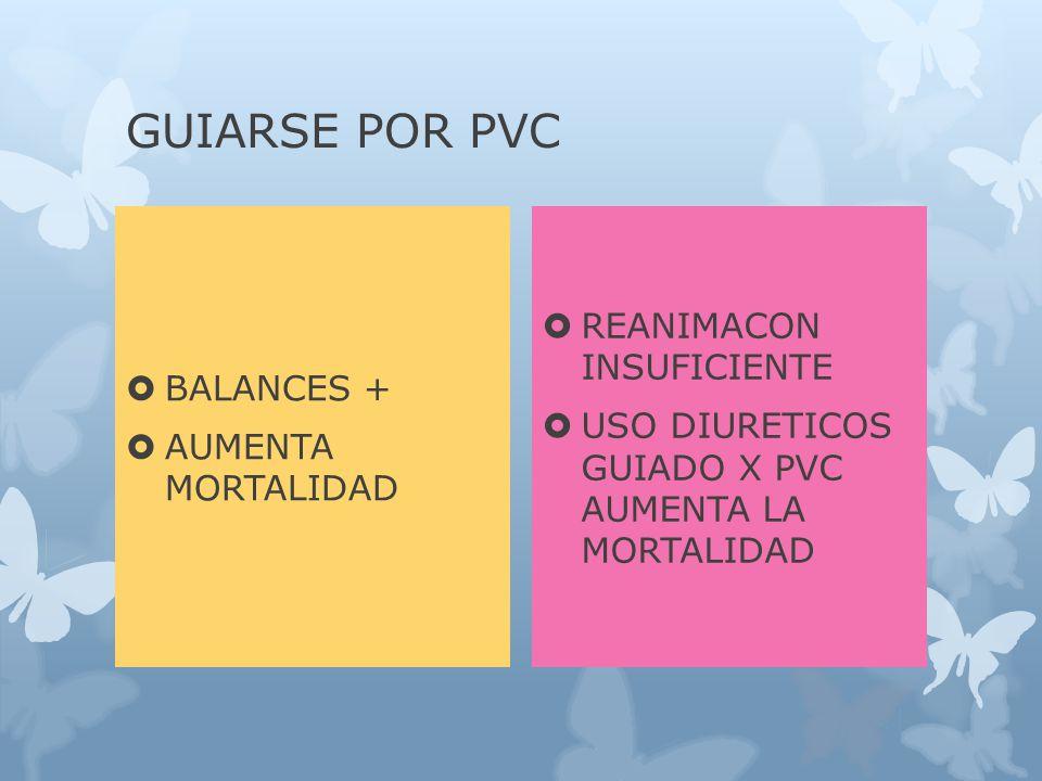 GUIARSE POR PVC BALANCES + AUMENTA MORTALIDAD REANIMACON INSUFICIENTE USO DIURETICOS GUIADO X PVC AUMENTA LA MORTALIDAD