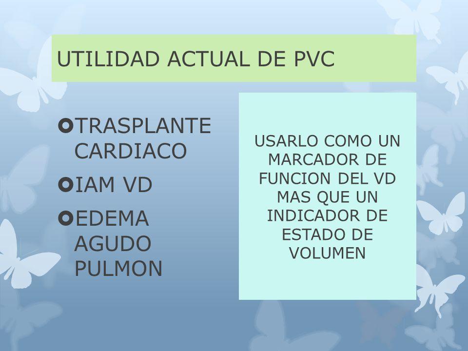 UTILIDAD ACTUAL DE PVC TRASPLANTE CARDIACO IAM VD EDEMA AGUDO PULMON USARLO COMO UN MARCADOR DE FUNCION DEL VD MAS QUE UN INDICADOR DE ESTADO DE VOLUMEN