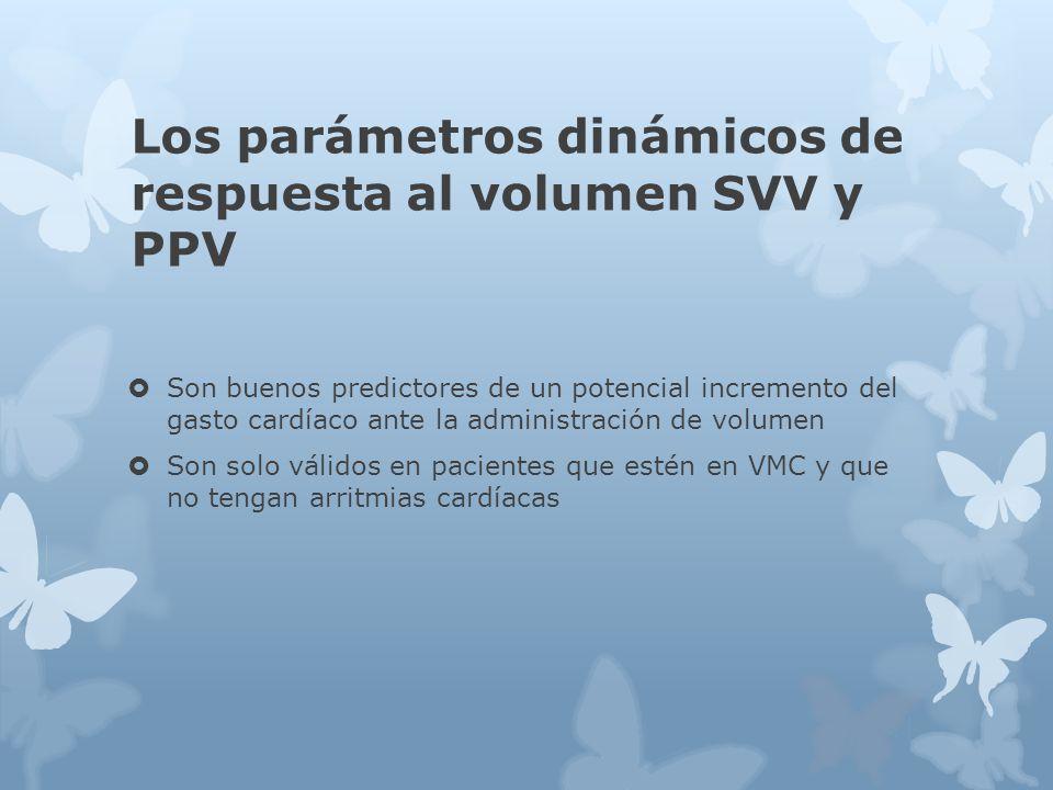 Los parámetros dinámicos de respuesta al volumen SVV y PPV Son buenos predictores de un potencial incremento del gasto cardíaco ante la administración de volumen Son solo válidos en pacientes que estén en VMC y que no tengan arritmias cardíacas