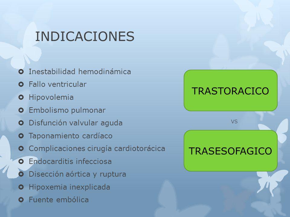 INDICACIONES Inestabilidad hemodinámica Fallo ventricular Hipovolemia Embolismo pulmonar Disfunción valvular aguda Taponamiento cardíaco Complicaciones cirugía cardiotorácica Endocarditis infecciosa Disección aórtica y ruptura Hipoxemia inexplicada Fuente embólica VS TRASTORACICO TRASESOFAGICO