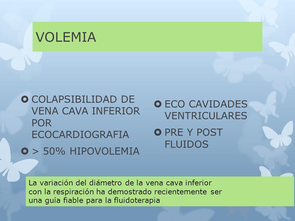 VOLEMIA COLAPSIBILIDAD DE VENA CAVA INFERIOR POR ECOCARDIOGRAFIA > 50% HIPOVOLEMIA ECO CAVIDADES VENTRICULARES PRE Y POST FLUIDOS La variación del diámetro de la vena cava inferior con la respiración ha demostrado recientemente ser una guía fiable para la fluidoterapia