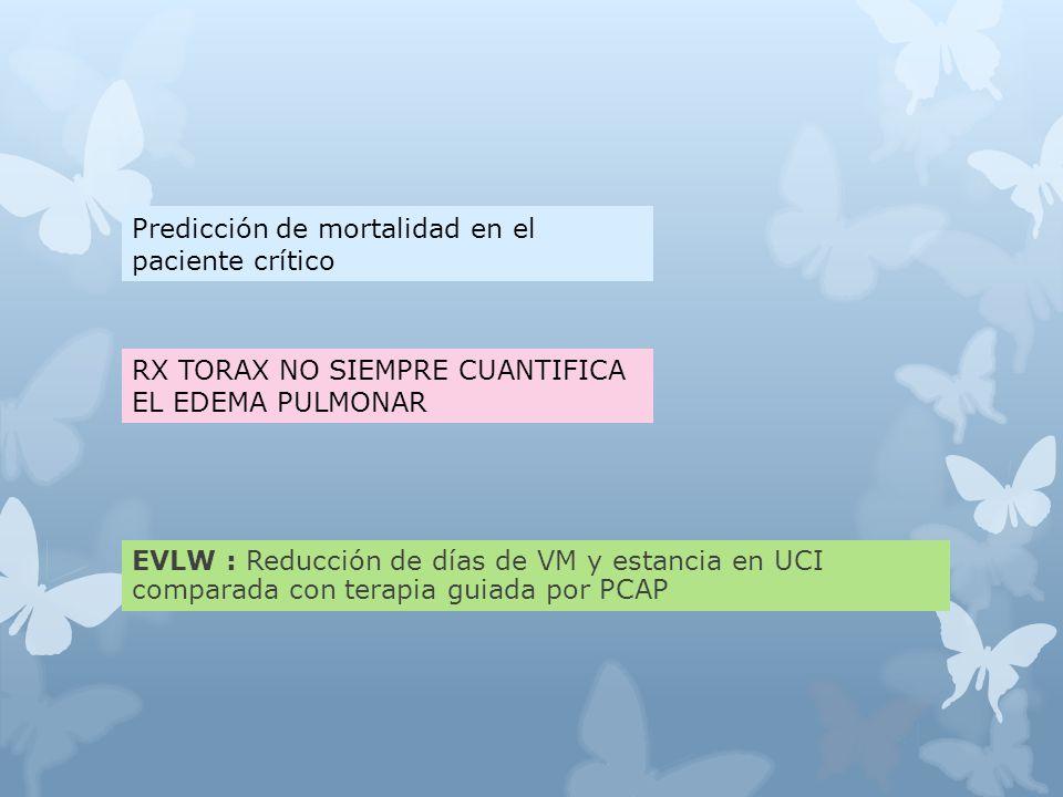 EVLW : Reducción de días de VM y estancia en UCI comparada con terapia guiada por PCAP Predicción de mortalidad en el paciente crítico RX TORAX NO SIEMPRE CUANTIFICA EL EDEMA PULMONAR