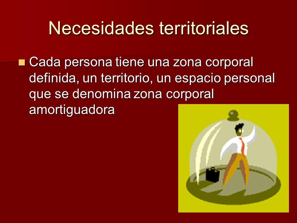 Necesidades territoriales Cada persona tiene una zona corporal definida, un territorio, un espacio personal que se denomina zona corporal amortiguador