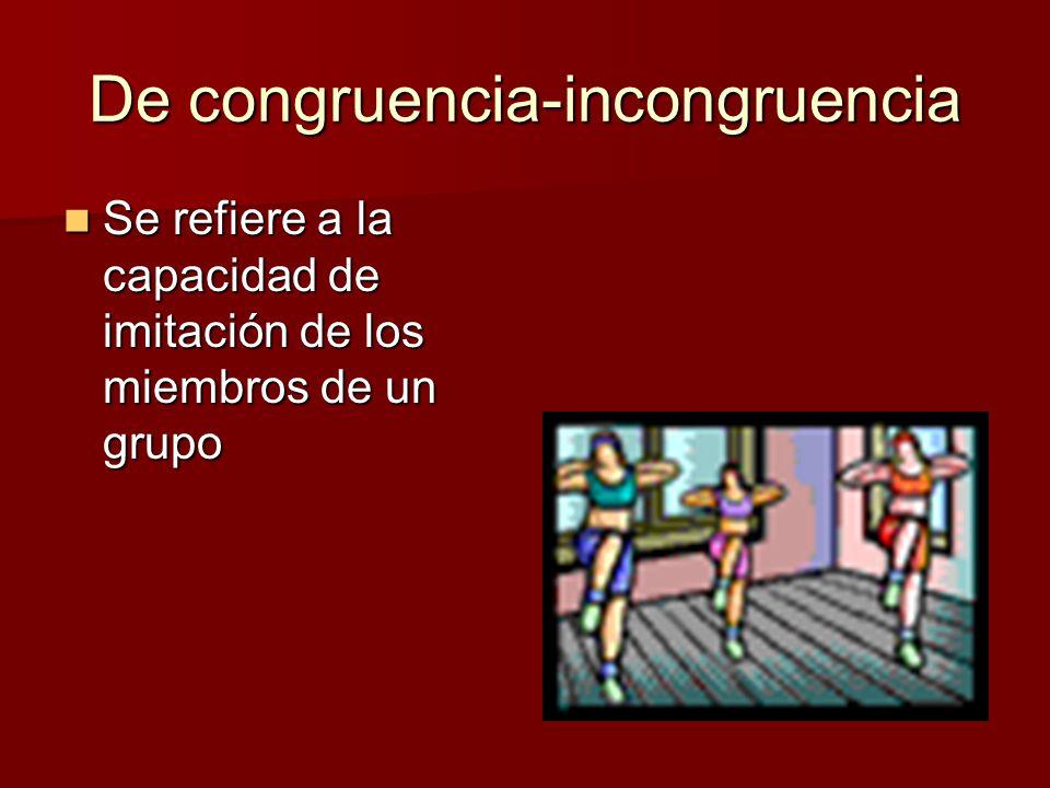 De congruencia-incongruencia Se refiere a la capacidad de imitación de los miembros de un grupo Se refiere a la capacidad de imitación de los miembros