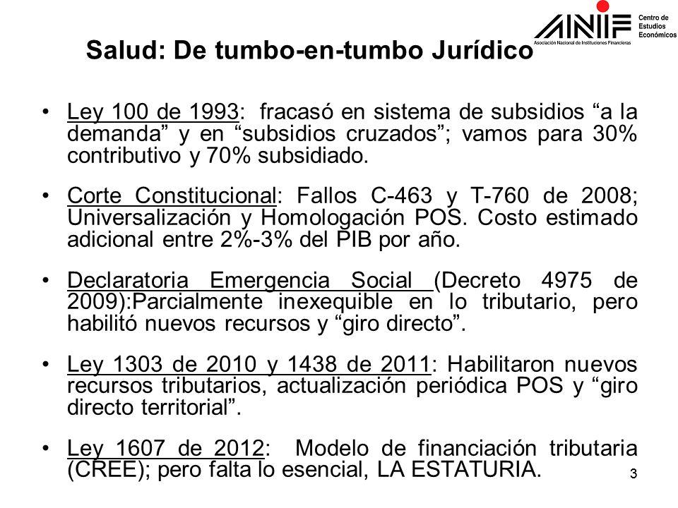 33 Ley 100 de 1993: fracasó en sistema de subsidios a la demanda y en subsidios cruzados; vamos para 30% contributivo y 70% subsidiado. Corte Constitu