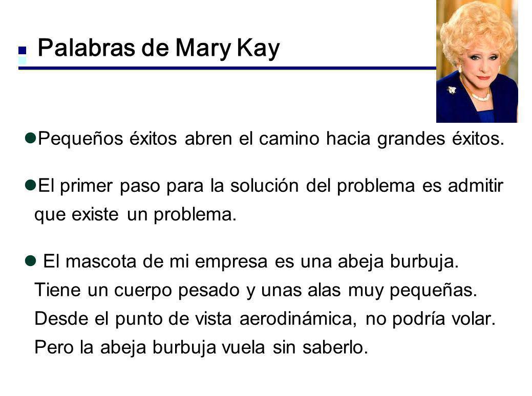 Palabras de Mary Kay Pequeños éxitos abren el camino hacia grandes éxitos. El primer paso para la solución del problema es admitir que existe un probl