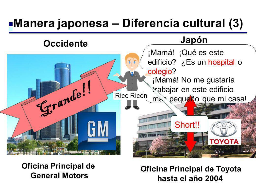 Manera japonesa – Diferencia cultural (3) Oficina Principal de General Motors Oficina Principal de Toyota hasta el año 2004 ¡Mamá! ¡Qué es este edific