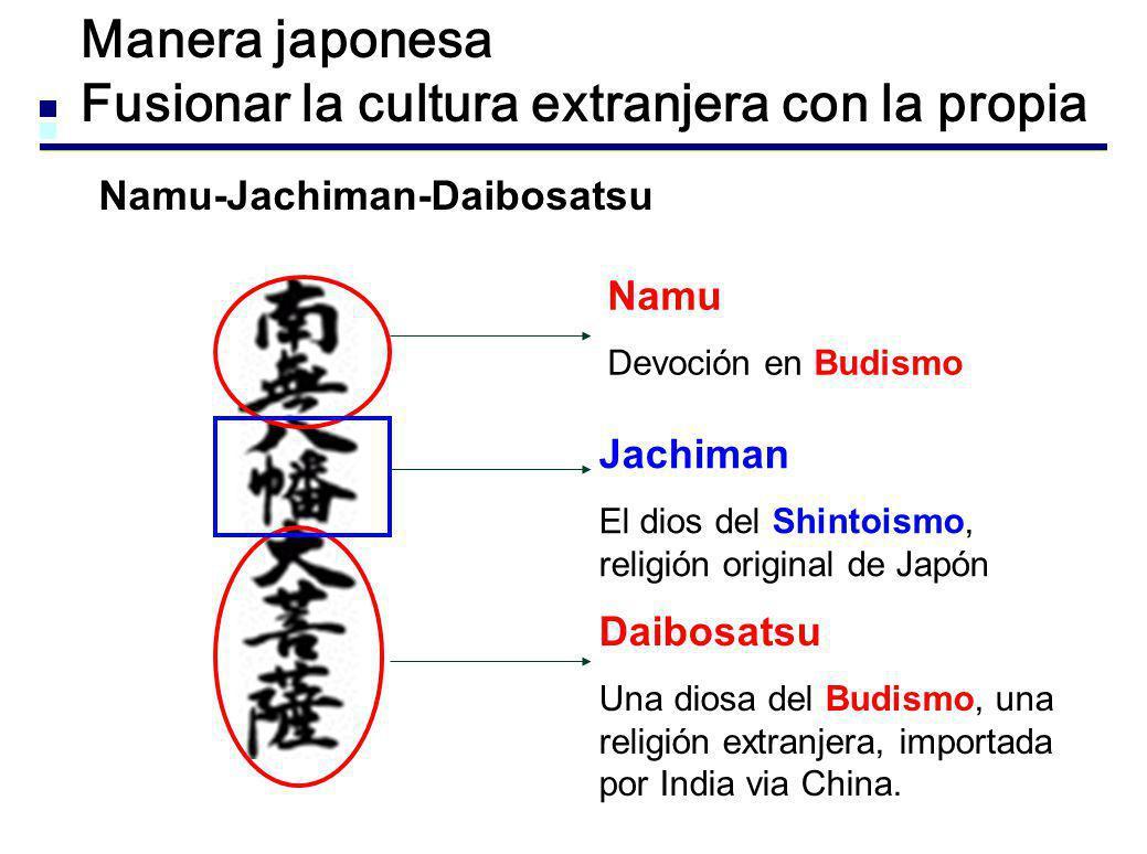 Manera japonesa Fusionar la cultura extranjera con la propia Namu-Jachiman-Daibosatsu Jachiman El dios del Shintoismo, religión original de Japón Namu