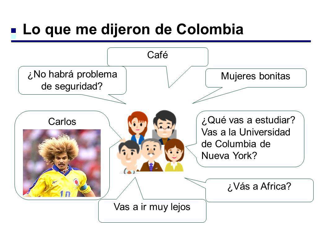 Lo que me dijeron de Colombia Café ¿No habrá problema de seguridad? Mujeres bonitas Carlos Valderrama ¿Qué vas a estudiar? Vas a la Universidad de Col