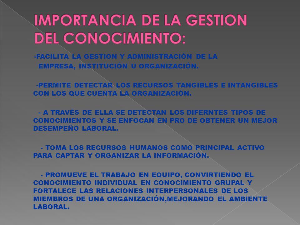 -FACILITA LA GESTION Y ADMINISTRACIÓN DE LA EMPRESA, INSTITUCIÓN U ORGANIZACIÓN.