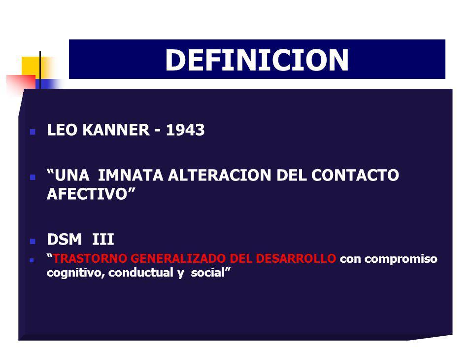 DEFINICION LEO KANNER - 1943 UNA IMNATA ALTERACION DEL CONTACTO AFECTIVO DSM III TRASTORNO GENERALIZADO DEL DESARROLLO con compromiso cognitivo, condu