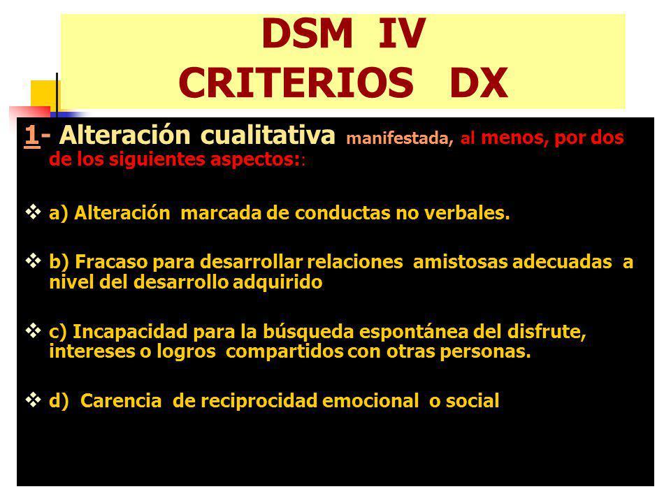 DSM IV CRITERIOS DX 1- Alteración cualitativa manifestada, al menos, por dos de los siguientes aspectos: : a) Alteración marcada de conductas no verba