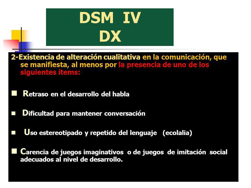 DSM IV DX 2-Existencia de alteración cualitativa en la comunicación, que se manifiesta, al menos por la presencia de uno de los siguientes ítems: R et