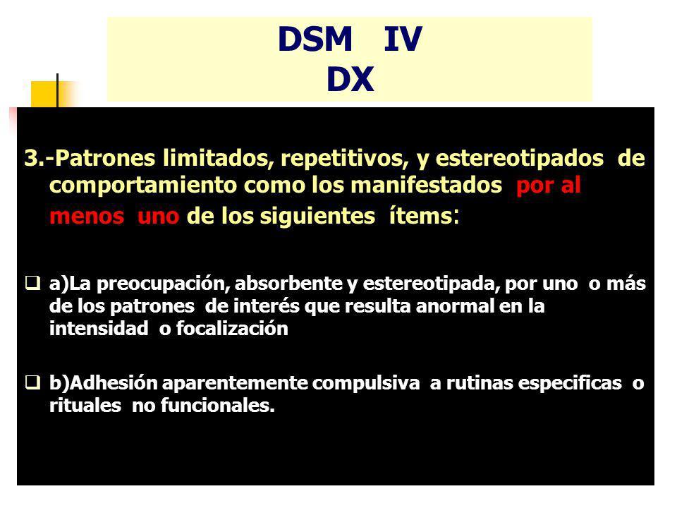 DSM IV DX 3.-Patrones limitados, repetitivos, y estereotipados de comportamiento como los manifestados por al menos uno de los siguientes ítems : a)La