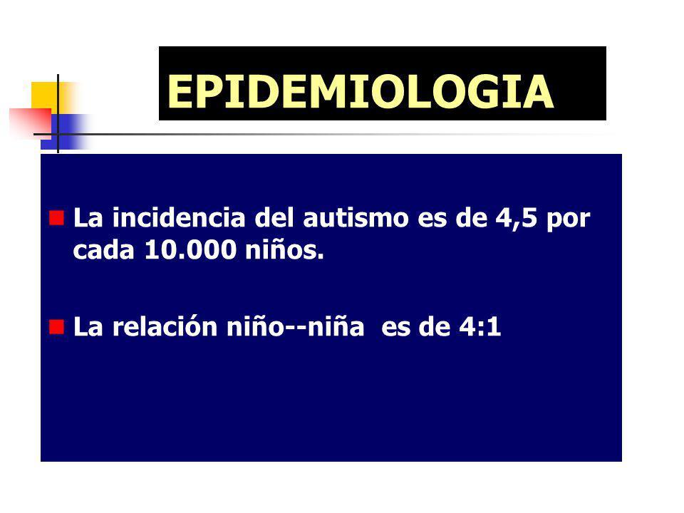 EPIDEMIOLOGIA La incidencia del autismo es de 4,5 por cada 10.000 niños. La relación niño--niña es de 4:1