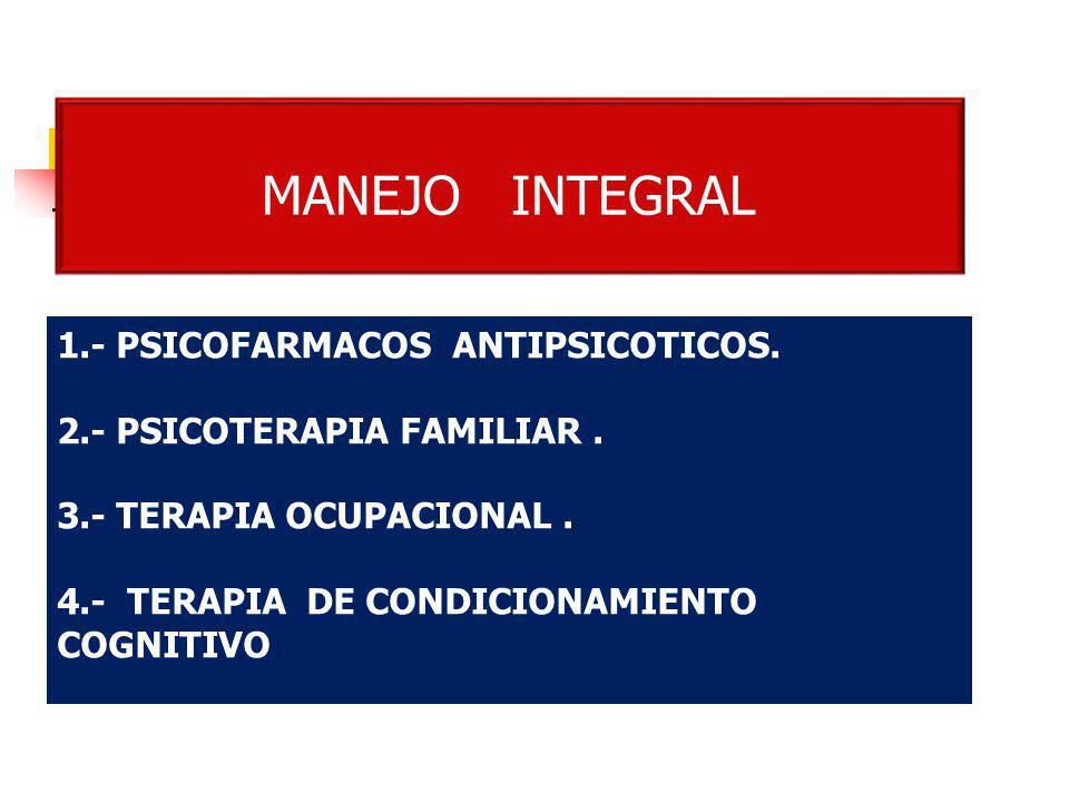 1.- PSICOFARMACOS ANTIPSICOTICOS. 2.- PSICOTERAPIA FAMILIAR. 3.- TERAPIA OCUPACIONAL. 4.- TERAPIA DE CONDICIONAMIENTO COGNITIVO MANEJO INTEGRAL