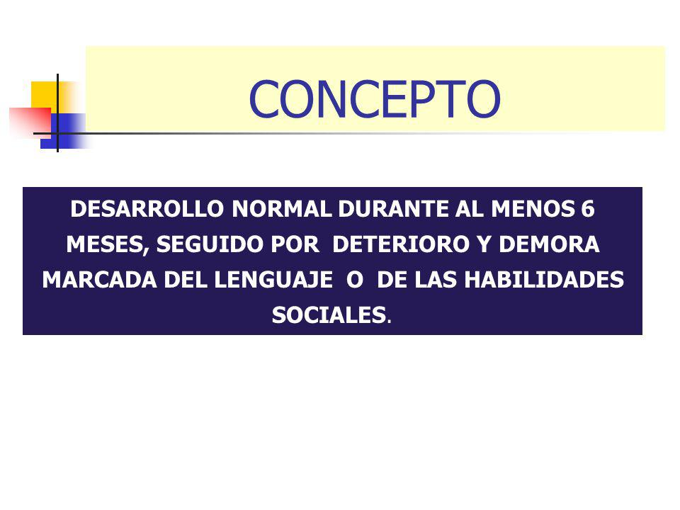 CONCEPTO DESARROLLO NORMAL DURANTE AL MENOS 6 MESES, SEGUIDO POR DETERIORO Y DEMORA MARCADA DEL LENGUAJE O DE LAS HABILIDADES SOCIALES.