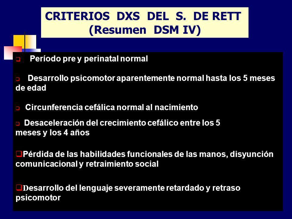 Período pre y perinatal normal Desarrollo psicomotor aparentemente normal hasta los 5 meses de edad Circunferencia cefálica normal al nacimiento Desac