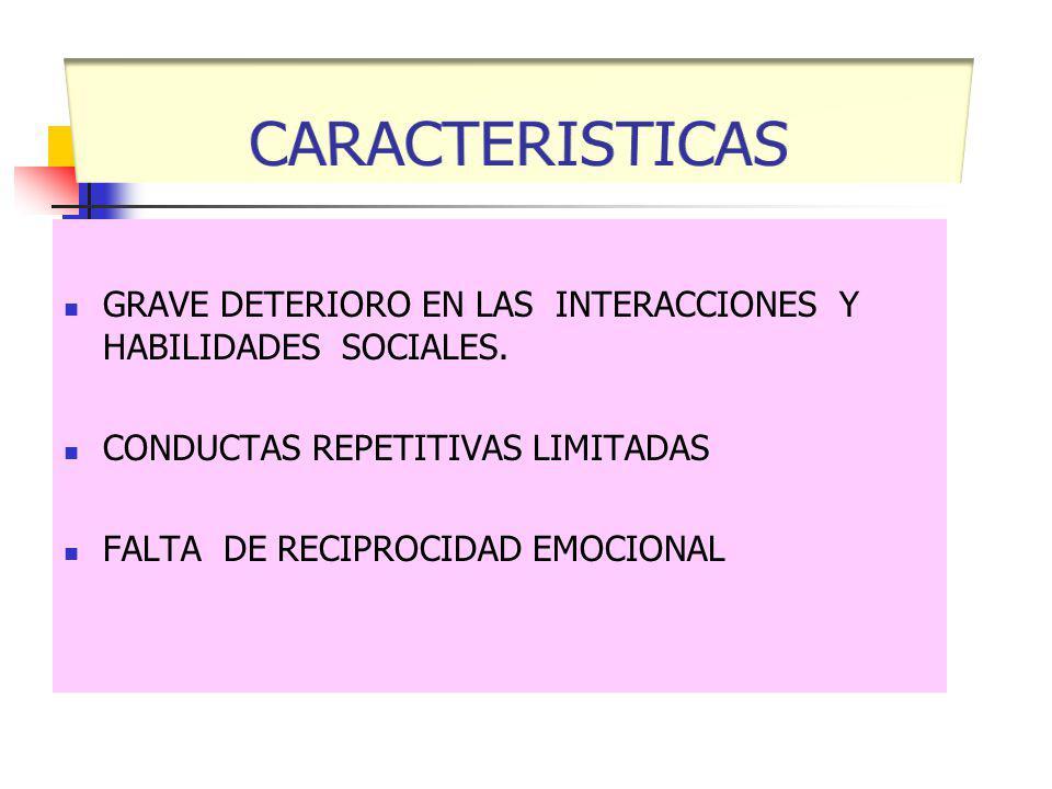GRAVE DETERIORO EN LAS INTERACCIONES Y HABILIDADES SOCIALES. CONDUCTAS REPETITIVAS LIMITADAS FALTA DE RECIPROCIDAD EMOCIONAL