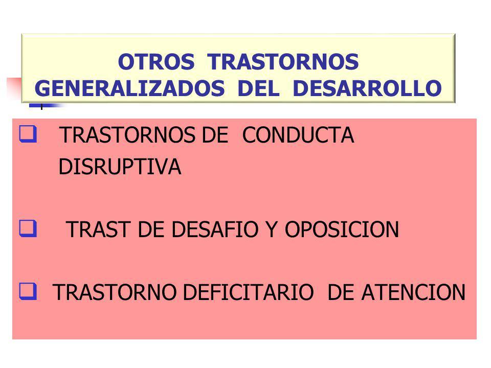 OTROS TRASTORNOS GENERALIZADOS DEL DESARROLLO TRASTORNOS DE CONDUCTA DISRUPTIVA TRAST DE DESAFIO Y OPOSICION TRASTORNO DEFICITARIO DE ATENCION