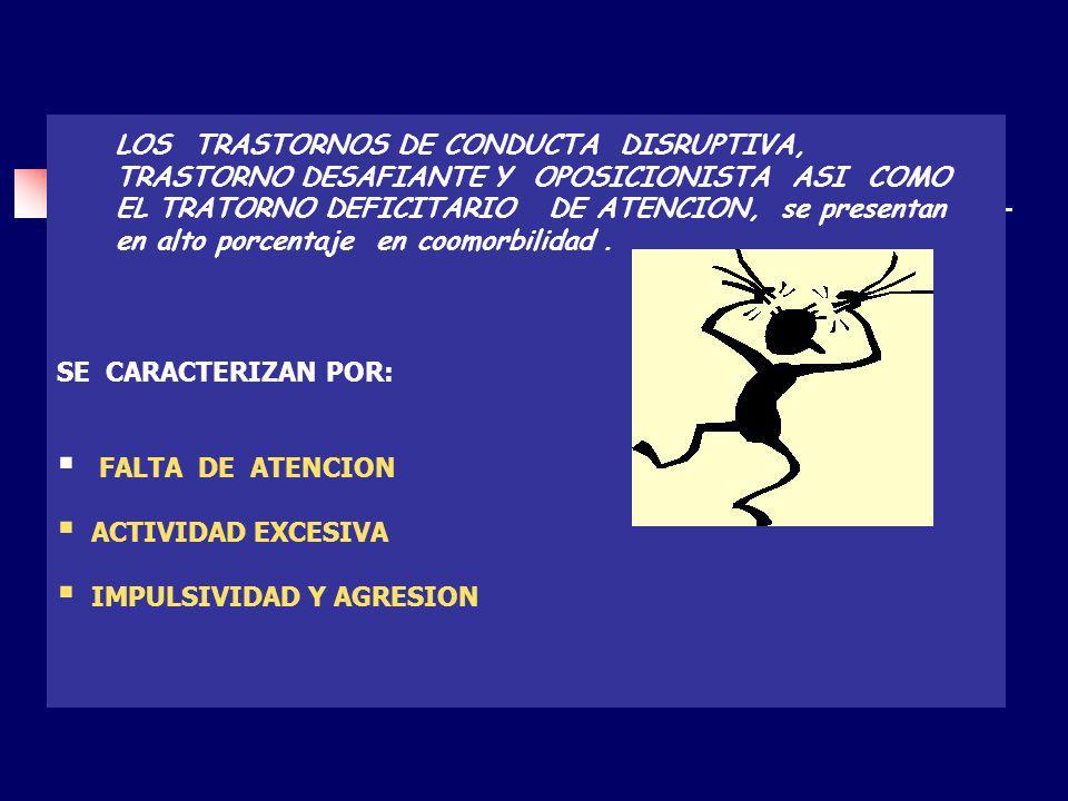 SE CARACTERIZAN POR: FALTA DE ATENCION ACTIVIDAD EXCESIVA IMPULSIVIDAD Y AGRESION LOS TRASTORNOS DE CONDUCTA DISRUPTIVA, TRASTORNO DESAFIANTE Y OPOSIC