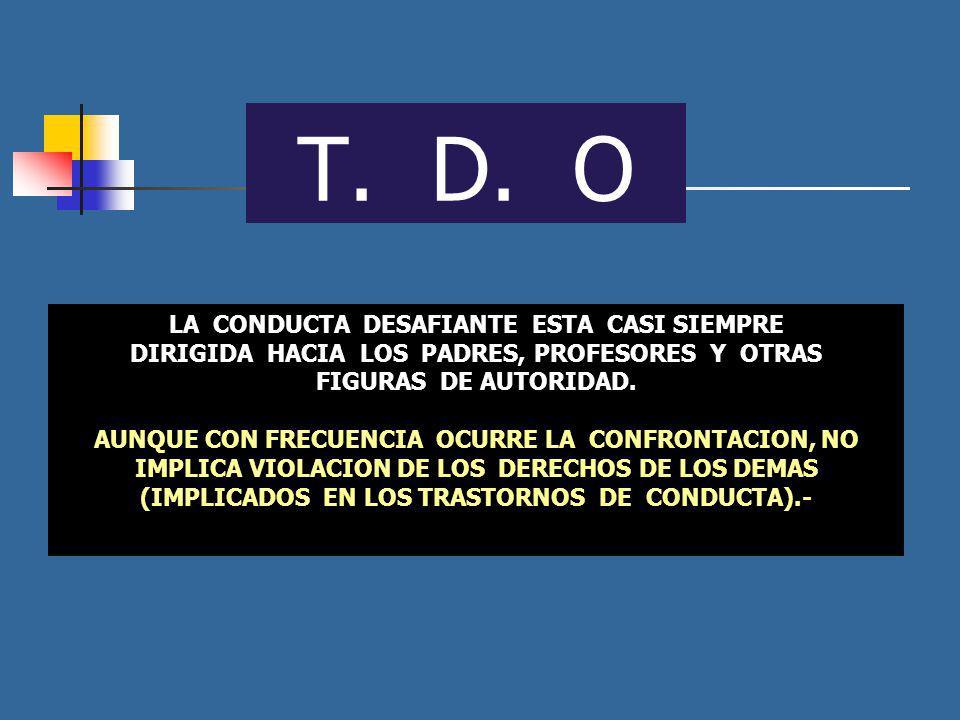T. D. O LA CONDUCTA DESAFIANTE ESTA CASI SIEMPRE DIRIGIDA HACIA LOS PADRES, PROFESORES Y OTRAS FIGURAS DE AUTORIDAD. AUNQUE CON FRECUENCIA OCURRE LA C