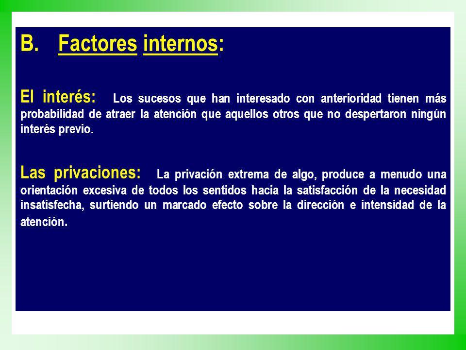 B.Factores internos: El interés: Los sucesos que han interesado con anterioridad tienen más probabilidad de atraer la atención que aquellos otros que