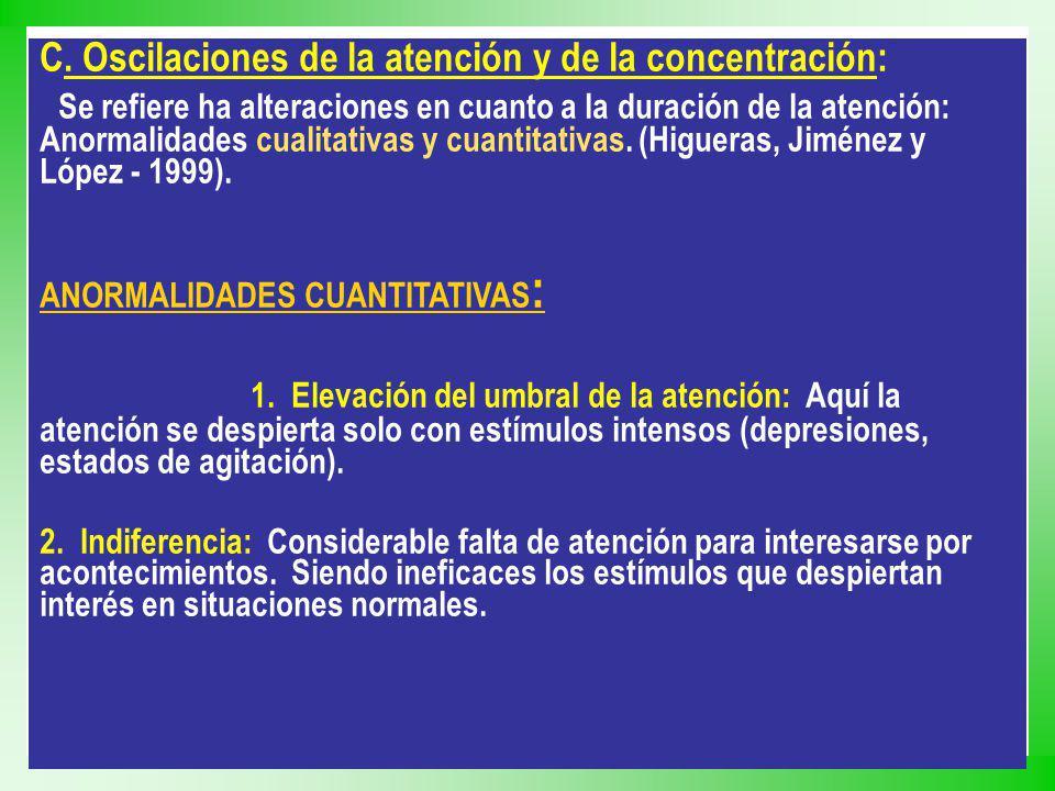 C. Oscilaciones de la atención y de la concentración: Se refiere ha alteraciones en cuanto a la duración de la atención: Anormalidades cualitativas y