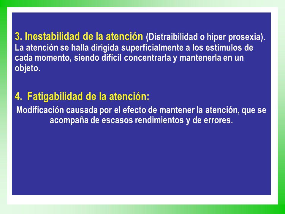 3. Inestabilidad de la atención (Distraibilidad o hiper prosexia). La atención se halla dirigida superficialmente a los estímulos de cada momento, sie