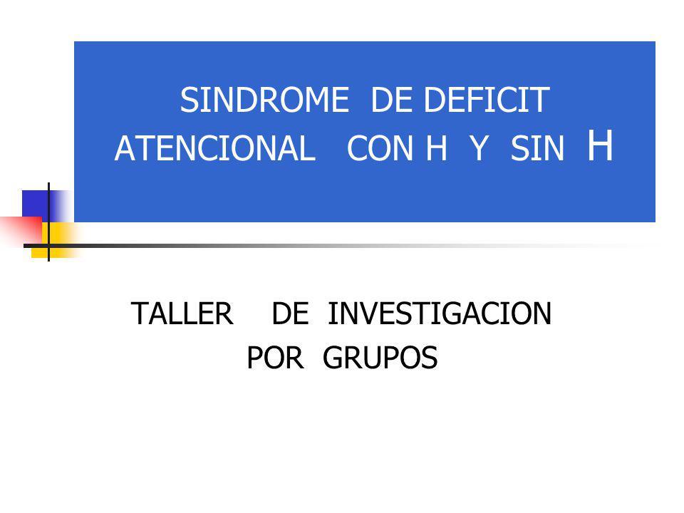 SINDROME DE DEFICIT ATENCIONAL CON H Y SIN H TALLER DE INVESTIGACION POR GRUPOS