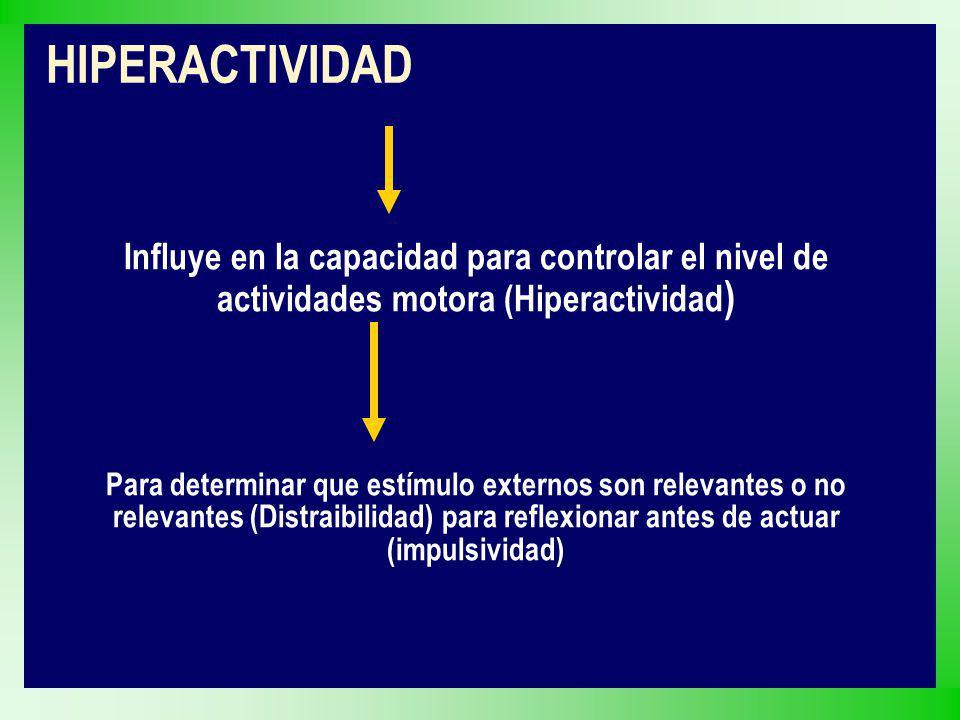 Influye en la capacidad para controlar el nivel de actividades motora (Hiperactividad ) Para determinar que estímulo externos son relevantes o no rele