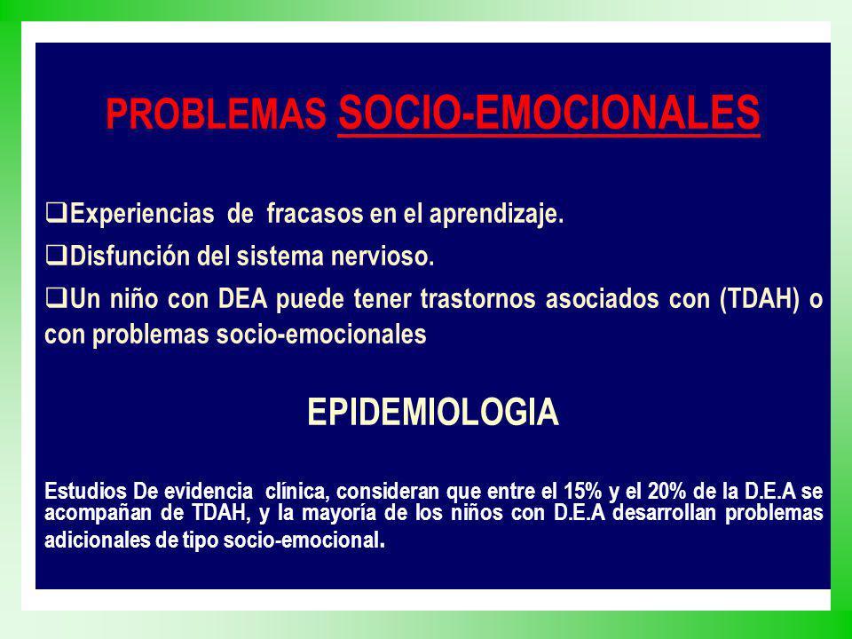 PROBLEMAS SOCIO-EMOCIONALES Experiencias de fracasos en el aprendizaje. Disfunción del sistema nervioso. Un niño con DEA puede tener trastornos asocia